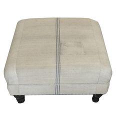 Custom Made Ottoman Oversized Antique French Grainsack upholstery