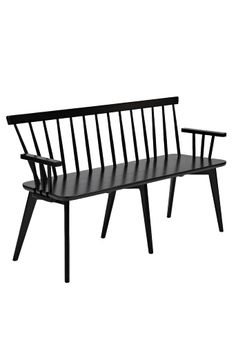 Equally at home in your contemporary hallway or Asian-inspired living room, this bench features a black finish. Style with bare wood floors, leafy green hous. Wooden Kitchen Bench, Kitchen Benches, Types Of Furniture, Dining Furniture, Outdoor Furniture, Patio Bench, Dining Bench, Dining Room, Contemporary Hallway