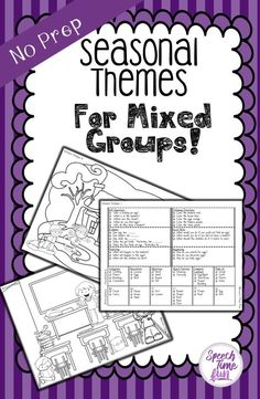 Are you looking for new ways to target multiple goals within one speech and language group? This pack has seasonal themes for the year that will target articulation, wh questions, following directions, sequencing, social skills, vocabulary, predicting, and more! Did I mention no prep required?!