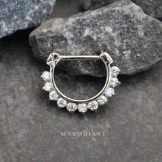2a3f5bc52 Brice Swarovski Crystal Septum Daith Clicker in Silver Ring Hoop Earring  Jewelry 16G - www.