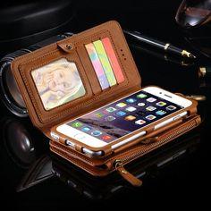 Seulement €14.23, acheter le meilleur Floveme rétro vintage cuir multifonctionnel étui portefeuille amovible pour téléphone iPhone 7 4.7 \ Site de vente en ligne au prix de gros. US/UE direct.