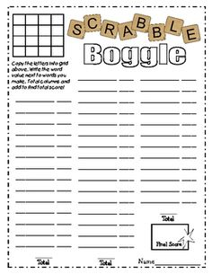 FREE download - Scrabble Boggle worksheet - They have printable Scrabble tiles!