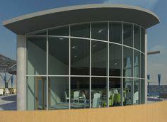 Levantamiento 3d de complejo vacacional turistico. Area refrigerada del bar de la piscina