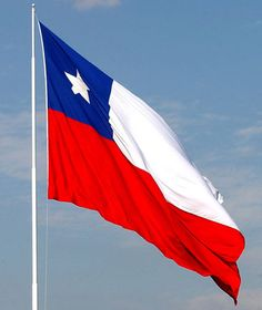 """Chile's Flag  What the colors and symbols mean.  Star represents- progress and honor.  Blue represents- The sky and the Pacific Ocean.  White represents- """"for the snow covered Andes,   Red represents- the blood that has been spilled to achieve independence."""