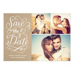 Lettered Rustic Kraft Save The Date Collage
