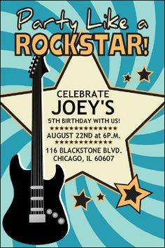 Rock and roll party invitation wording - party like a rock star