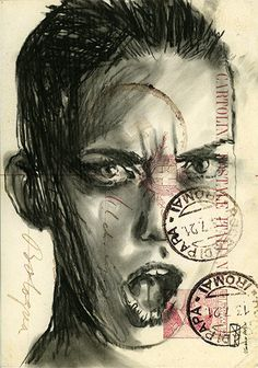 Print mixed media drawing charcoal painting  postcard high quality print art fashion model woman portrait face black and white
