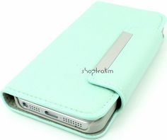 Mint leatherette wallet phone case for Apple iPhone 5 iPhone 4S Galaxy S3 plain no studs or embellishments. $19.99, via Etsy.