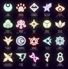 Potential symbols for a fantasy card game I conceptualized in middle school. The Caper Of Knaio: Symbols (March 2014 Update) Magic Symbols, Ancient Symbols, Cool Symbols, Types Of Magic, Elemental Powers, Alphabet Symbols, Element Symbols, Magic Circle, Fantasy Weapons