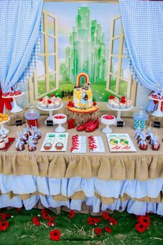 Somewhere Over the Rainbow Party with So Many Cute Ideas via Kara's Party Ideas KarasPartyIdeas.com #WizardOfOz #RedSlippers #WizardOfOzPart...