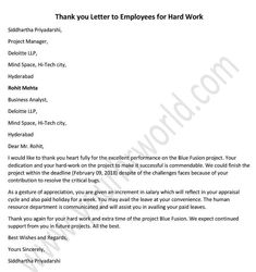 Thank you Letter to Employees for Hard Work – Tips for writing a Thank you letter to Employees for good work done