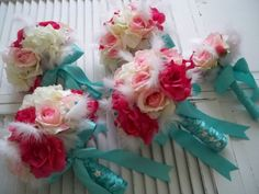 Pink and White Tiffany Blue Bridal Boquet Set by modagefloral