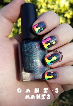 Melting Rainbow nail art! - Danis Manis!