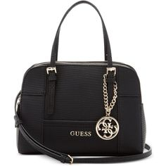 Guess Huntley Mini Satchel ($73) ❤ liked on Polyvore featuring bags, handbags, black, guess purses, mini handbags, guess bags, miniature purse and black satchel bag