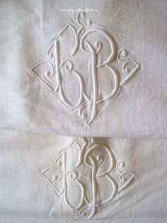 A Pair of Matching Antique French Metis Linen Sheets With EB Monogram & Ladderwork www.fatiguedfrenchfinds.com