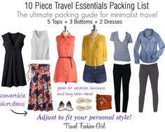 10 Piece Travel Essentials Packing List – pack light, cute,