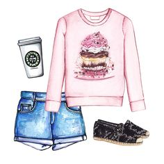 Summer outfit. Doll Memories sweatshirt, cut-offs and espadrilles
