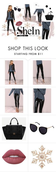 """""""SheIn: Black Crop Coated Leggings"""" by die-ammy ❤ liked on Polyvore featuring Lime Crime and John Lewis"""