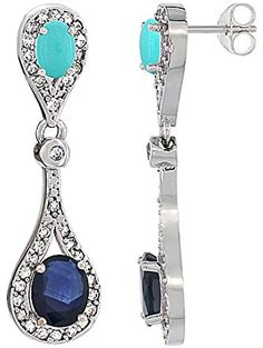 10K White Gold Natural Blue Sapphire & Turquoise Oval Dangling Earrings White Sapphire & Diamond Accents, 1 3/8 inches long ❤ ...