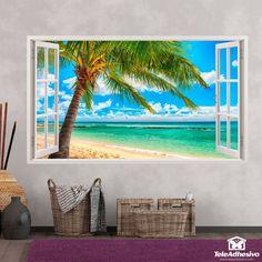 Nos muestra una magnífica vista de una palmera en una playa paradisíaca. Versace Wallpaper, Beach Drawing, Afterlight, Christmas Art, Wall Design, Beautiful Homes, Aquarium, Drawings, Painting