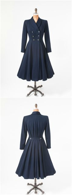 1040's Fitted Navy Blue Coat