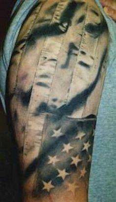 The fabric on this American flag tattoo by Megan Hoogland is so realistic! Great Tattoos, Body Art Tattoos, Amazing Tattoos, Weird Tattoos, Badass Tattoos, Skull Tattoos, Beautiful Tattoos, Patriotic Tattoos, Flag Tattoos
