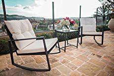 Suncrown Outdoor 3 Piece Rocking Bistro Set Black Wicker Furniture Two Chairs With Glass Coffee Table Beige Cushion Outdoor Seating, Outdoor Rooms, Outdoor Living, Outdoor Decor, Outdoor Ideas, Wicker Patio Furniture Sets, Patio Chairs, Room Chairs, Outdoor Rocking Chairs