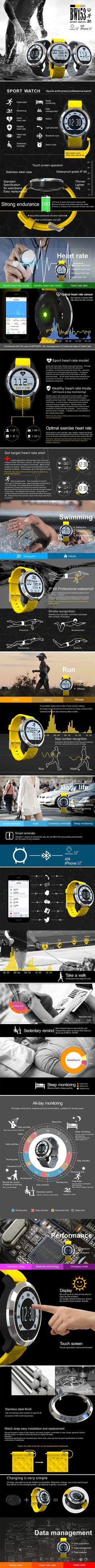 GX-BW153 Smart Bracelet Sleep Heart Rate Monitor IP68 Waterproof Fitness Tracker Sport Watch at Banggood - mens waterproof watches, mens watches buy online, quality mens watches - smart bracelet fitness tracker watches - amzn.to/2ijjZXZ Electronics - Wearable Technology - Clips, Arm & Wristbands - Women's Smart Watches for Sport - http://amzn.to/2kHNvw9