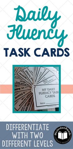 Daily Fluency Task Cards for Reading Fluency Practice | Perfect for literacy centers, fluency interventions, partner reading, and fun fluency stations. Reinforce the different components of fluency with these cards. Two different levels and 116 Cards in each set.