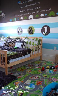 Boys bedroom, like the half & half idea. Splits up the space.