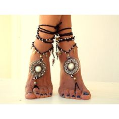 Barefoot Sandals, Barefoot Beach Jewelry, gemstones Hippie Sandals,... ($50) ❤ liked on Polyvore featuring shoes, sandals, bohemian shoes, thong sandals, boho shoes, hippy sandals and toe thong sandals