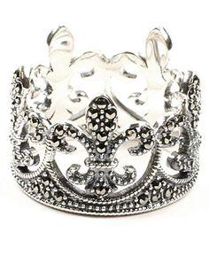 Judith Jack Ring, Sterling Silver Marcasite Fleur De Lis Crown Ring