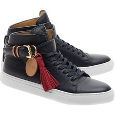 Buscemi 100MM Belt Dark Blue // High-top leather sneakers (1,370 CAD) ❤ liked on Polyvore featuring men's fashion, men's shoes and men's sneakers