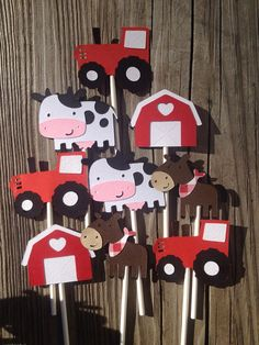 12 Tractor and Farm Animal Themed Cupcake Toppers, Cow, Horse, Sheep, Chick, Pig by MiaSophias, $11.99