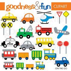 On The Go Transportation Clipart - Digital Transportation / Car/ Vehicle Clipart - Instant Download