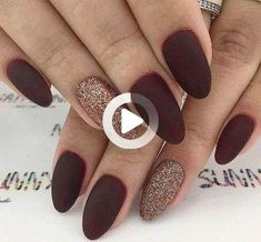 fall Trendy Manicure Ideas In Fall Nail Colors;Purple Nails; Trendy Manicure Ideas In Fall Nail Colors;Purple Nails; Dark Red Nails, Burgundy Nails, Red Matte Nails, Acrylic Nails Almond Matte, Fall Almond Nails, Dark Nail Art, Burgundy Nail Designs, Matte Gold, Matte Black