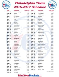 picture regarding 76ers Printable Schedule identified as 16 Least complicated Printable Schedules pics inside of 2019 Basketball