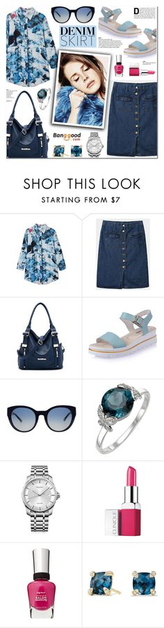 """Banggood 4 - Denim Skirt"" by anyasdesigns ❤ liked on Polyvore featuring Tory Burch, Calvin Klein, Clinique, Sally Hansen and David Yurman"