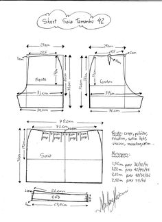Pattern to make a short skirt. Sizes from 36 to Sizes . Sewing Pants, Sewing Clothes, Diy Clothes, Dress Sewing Patterns, Sewing Patterns Free, Clothing Patterns, Diy Pantalon, Diy Vetement, Creation Couture