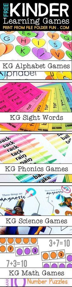 LOVE this Website for Kindergarten!! Free Kindergarten Printables and Games