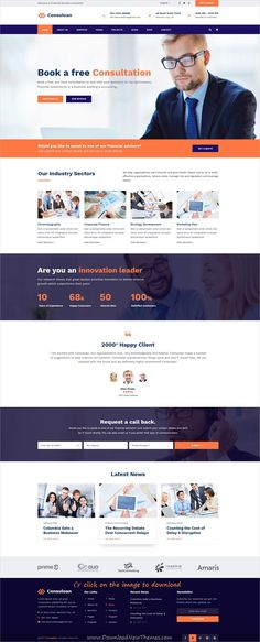 Consuloan is clean and modern design PSD template for #corporate #consulting and professional services website with 8 homepage layouts and 40 layered PSD pages to download click on image.