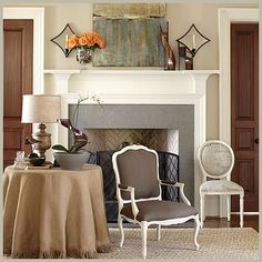 love the burlap and the bergere chair