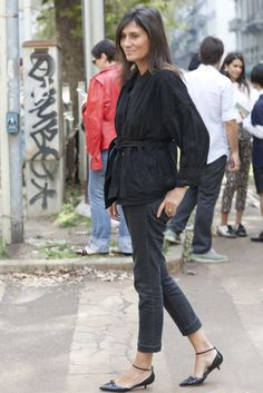 All the Best Street Style Straight From Milan Fashion Week!: Just how do you elevate denim on denim? Don't forget your statement heels.  : Shiona Turini did statement print on statement print — with sleek white heels to finish.  : Emmanuelle Alt did what she does best in simply chic black separates and ankle-strap kitten heels.