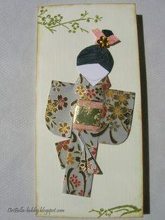 handmade card from Blog Shop Artimeno ... folded washi kimono doll ... like the fold and luv the gold ...