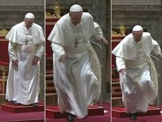 The Pope almost falls from the altar on his first day