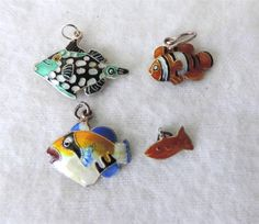 4 Silver Enamel Colorful Fish Charms