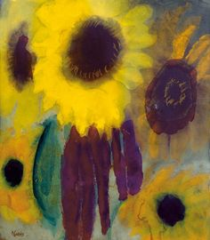 Emil Nolde ~ Sunflowers, c.1930-40. I would love to translate this color combination into a beaded necklace.