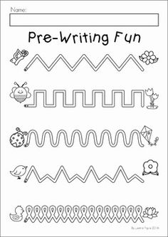 Spring Preschool Worksheets & Activities Spring Preschool No Prep Worksheets & Activities. A page from the unit: pre-writing activity Kindergarten Prep, Preschool Writing, Preschool Printables, Preschool Kindergarten, Preschool Learning, Preschool Crafts, Kids Learning, Preschool Worksheets Free, Teaching Cursive Writing