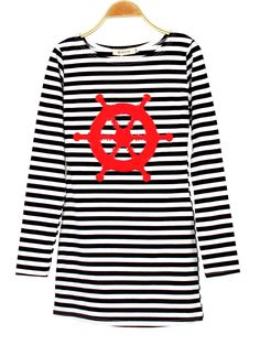 11 Colors Black Navy Striped with Printed Anchor Bear Rudder Women dresses Full Sleeve T-Shirts Long Tops Skinny Tees Dress