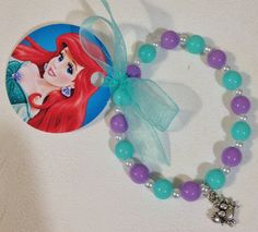 "8 - Ariel Little Mermaid Silver tone Sebatian Charm Bracelet With Ribbon Tag Birthday Party Favor or Slumber Party Favor 61/2"" Bracelet on Etsy, $22.00"